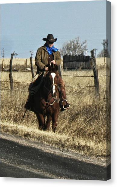 Saddles Canvas Print - Ridding The Fence by Jill Graham
