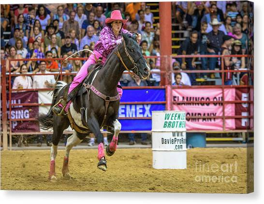 Rodeo Clown Canvas Print - Ride Her Hard Cowgirl by Rene Triay Photography