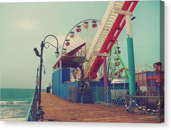 Santa Monica Pier Canvas Print - Ride It Out by Laurie Search