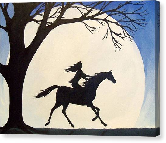 Bareback Canvas Print - Ride Like The Wind  - Silhouette Girl Riding Horse by Debbie Criswell