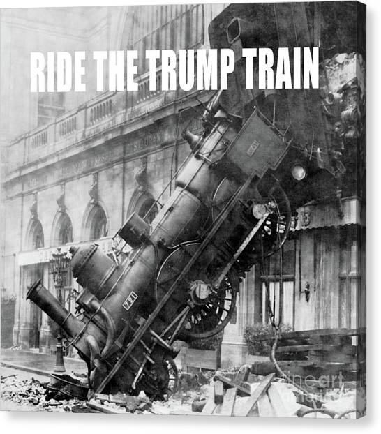 Donald Trump Canvas Print - Ride The Trump Train by Edward Fielding
