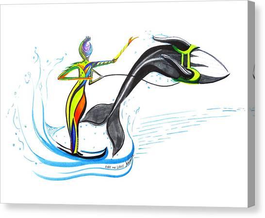 Water Skis Canvas Print - Ride The Wave by Karen  Renee