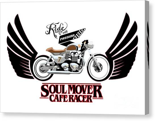 Motorcycle Canvas Print - Ride With Passion Cafe Racer by Sassan Filsoof