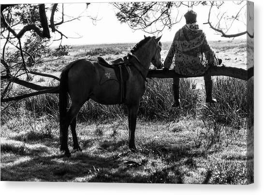 Canvas Print featuring the photograph Rider And Horse Taking Break by Pradeep Raja Prints