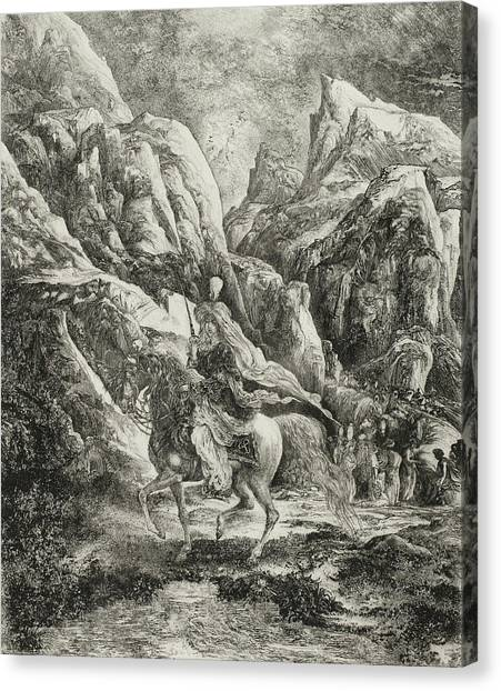 Girl In Landscape Canvas Print - Rider In The Mountains by Rodolphe Bresdin