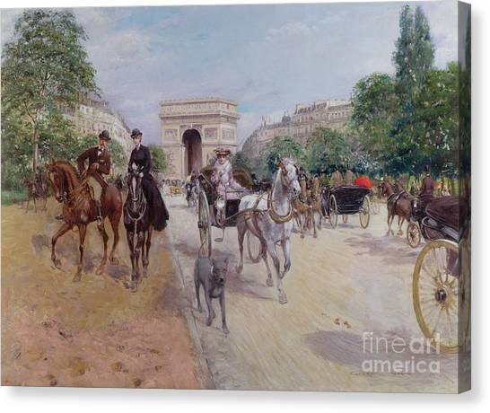 Carriage Canvas Print - Riders And Carriages On The Avenue Du Bois by Georges Stein