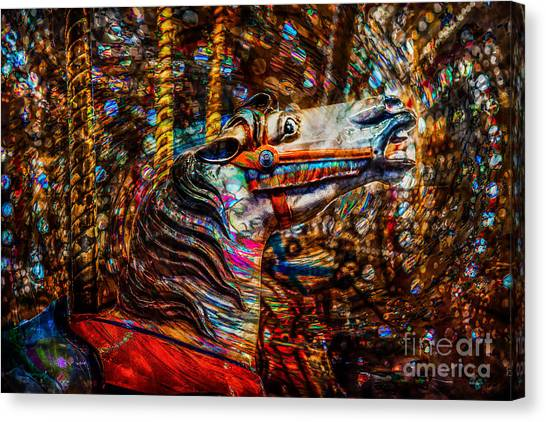Canvas Print featuring the photograph Riding A Carousel In My Colorful Dream by Michael Arend