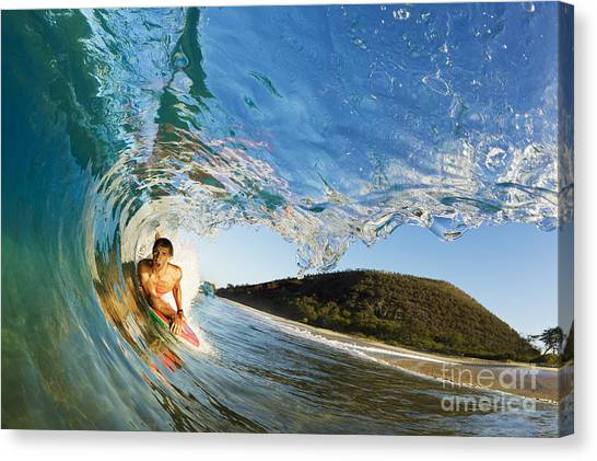 Bodyboard Canvas Print - Riding Barrel At Makena by MakenaStockMedia - Printscapes