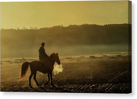 Canvas Print featuring the photograph Riding His Horse by Pradeep Raja Prints