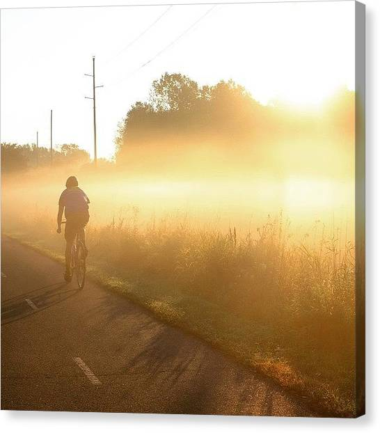 Bicycle Canvas Print - Riding Into The Morning Fog by Heidi Hermes