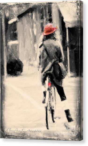 Riding My Bicycle In A Red Hat Canvas Print