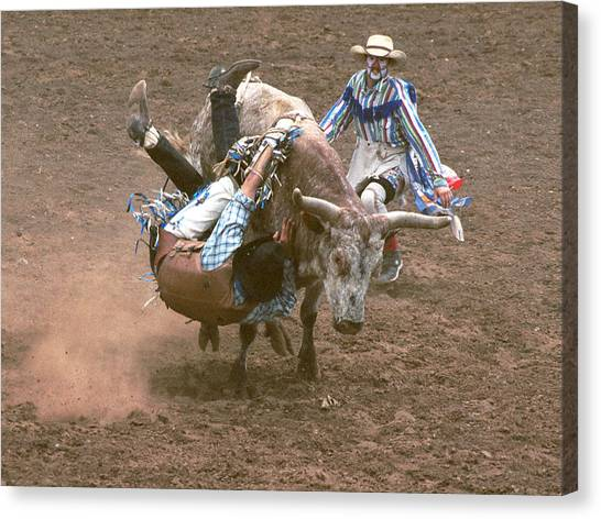 Rodeo Clown Canvas Print - Riding Side Saddle by Jerry McElroy