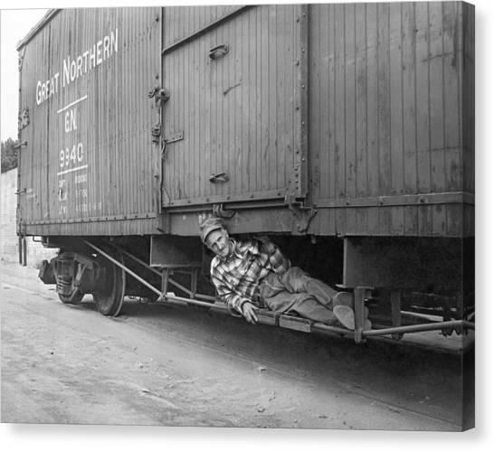 Freight Trains Canvas Print - Riding The Rails On A Train by Underwood Archives