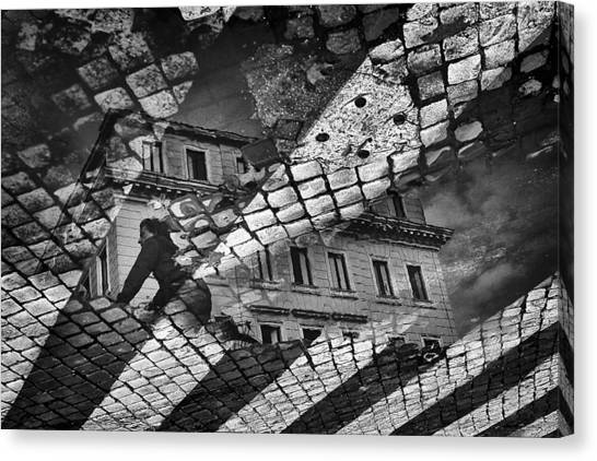 Street Canvas Print - Riflesso by Antonio Grambone