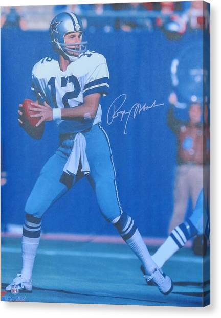 Dallas Cowboys Cheerleaders Canvas Print - Roger Staubach #12 Dallas Cowboys Quarterback by Donna Wilson