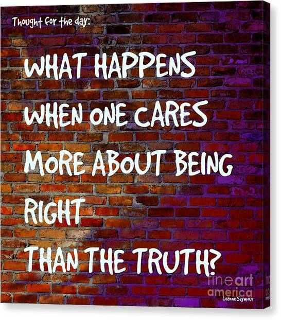 Search Canvas Print - Right V Truth - On The Wall by Leanne Seymour