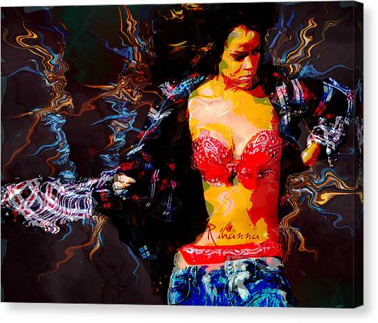Rihanna Canvas Print - Rihanna Abstract By Gbs by Anibal Diaz