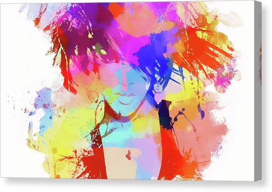 Rihanna Canvas Print - Rihanna Paint Splatter by Dan Sproul