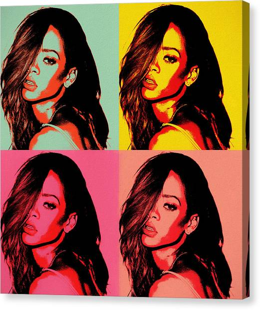 Rihanna Canvas Print - Rihanna Pop Art by Dan Sproul