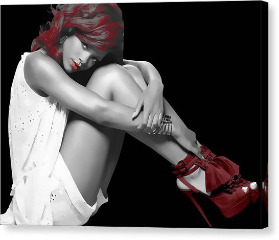 Rihanna Canvas Print - Rihanna Simple By Gbs by Anibal Diaz