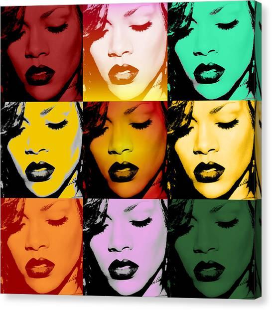Rihanna Canvas Print - Rihanna Warhol By Gbs by Anibal Diaz