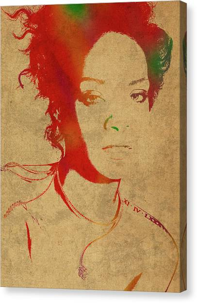 Rihanna Canvas Print - Rihanna Watercolor Portrait by Design Turnpike