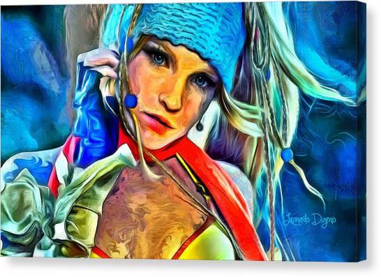 Final Fantasy Canvas Print - Rikku Final Fantasy  - Van Gogh Style -  - Da by Leonardo Digenio