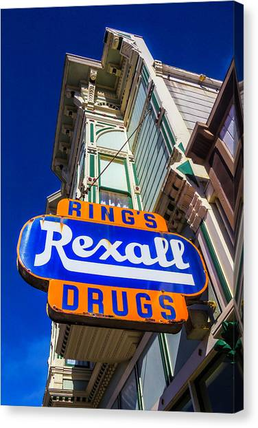 Drugstore Canvas Print - Rings Rexall Drugs Sign by Garry Gay