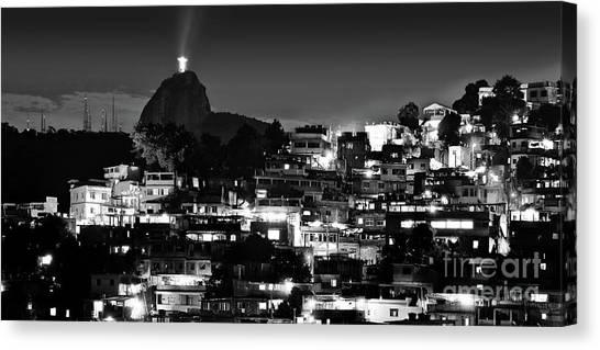 Rio De Janeiro - Christ The Redeemer On Corcovado, Mountains And Slums Canvas Print