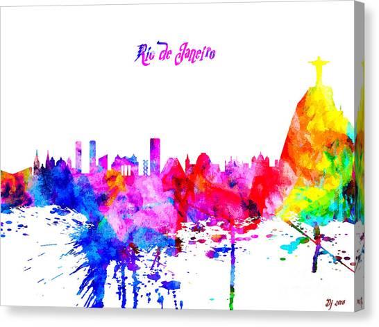 Rio De Janeiro Skyline Canvas Print - Rio De Janeiro Colorful Skyline by Daniel Janda