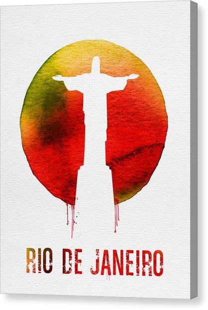 South America Canvas Print - Rio De Janeiro Landmark Red by Naxart Studio