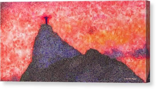 Saint Canvas Print - Rio De Janeiro Red Sunset - Pa by Leonardo Digenio