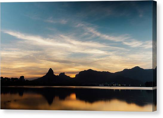 Rio De Janeiro Skyline Canvas Print - Rio De Janeiro Skyline Silhouette by Alexandre Rotenberg