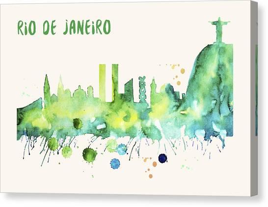 Rio De Janeiro Skyline Watercolor Poster - Cityscape Painting Artwork Canvas Print