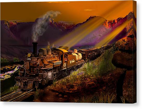 Stock Cars Canvas Print - Rio Grande Early Morning Gold by J Griff Griffin