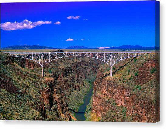 Rio Grande Canvas Print - Rio Grande Gorge Bridge Taos County Nm by Troy Montemayor