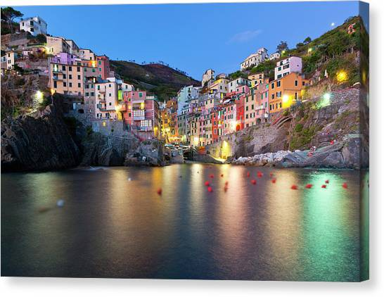 Mountain Sunset Canvas Print - Riomaggiore After Sunset by Sebastian Wasek