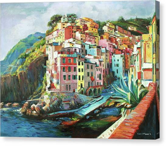 Fishing Boats Canvas Print - Riomaggiore Italy by Conor McGuire