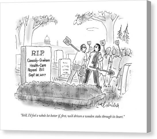 Obamacare Canvas Print - Rip Cassidy-graham Health-care Bill by Mort Gerberg