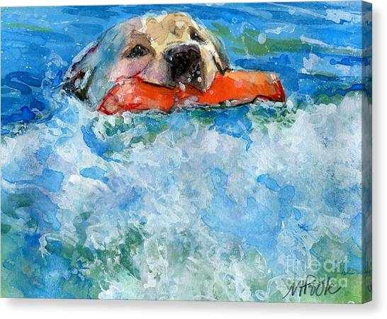 Yellow Lab Canvas Print - Rip Curl by Molly Poole