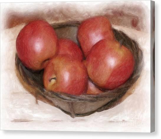 Ripe Red Apples Canvas Print by Susan  Lipschutz