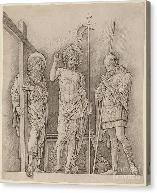 Canvas Print - Risen Christ Between Saints Andrew And Longinus by Andrea Mantegna