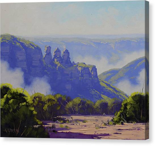 The Sky Canvas Print - Rising Mist Three Sisters Australia by Graham Gercken