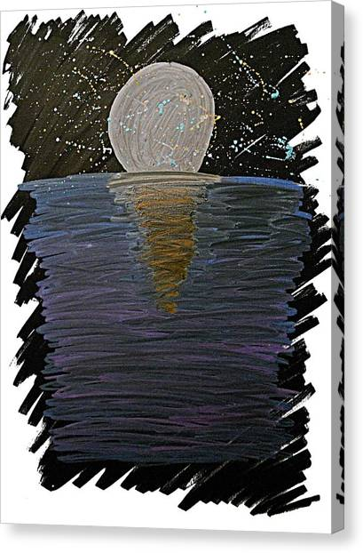 Canvas Print featuring the drawing Rising Moon by Bee-Bee Deigner
