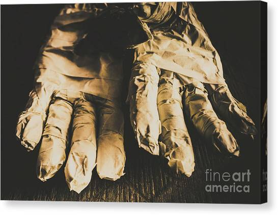 Nobody Canvas Print - Rising Mummy Hands In Bandage by Jorgo Photography - Wall Art Gallery