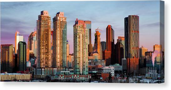 Rising Sun On Calgary Canvas Print