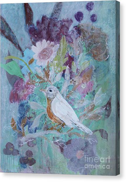 Canvas Print featuring the painting Risky Robin by Robin Maria Pedrero