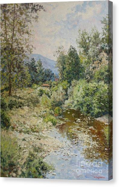 River At Bulgarian Foothills Canvas Print by Andrey Soldatenko