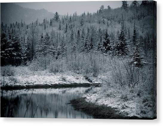 River Bend Winter Canvas Print by Todd Bissonette