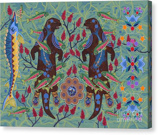 Canvas Print featuring the painting River Spirit by Chholing Taha